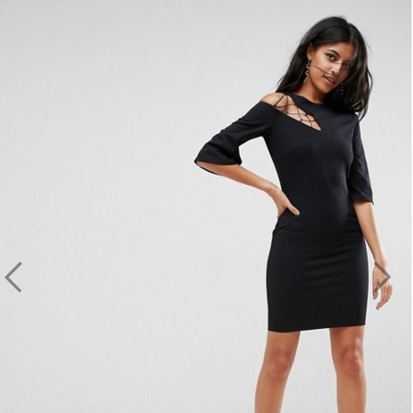 ASOS Dresses & Skirts - ASOS Black 3/4 Sleeve Lace Up Shoulder Shift Dress